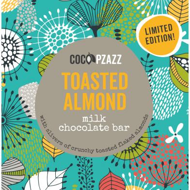 Coco Pzazz Toasted Almond Milk Chocolate Bar (80g)