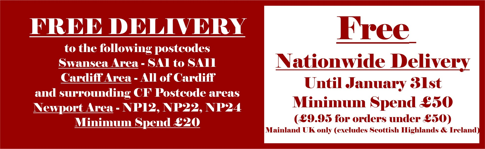 Free Nationwide Delivery when you spend over £50